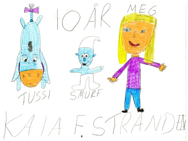 Gode venner: Ti år gamle Kaia Fossnes Stranden fra Kapp har tegnet seg selv sammen med sine gode venner, Tussi og Smurf. Takk for flott tegning, Kaia!