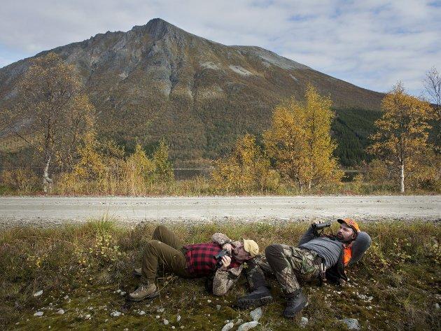 Jaktleder Harald Andersen (t.v.) og Kjetil Arnesen, på utkikk etter elg.