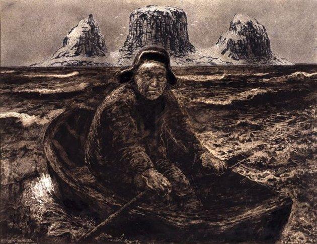 """""""Peder på Røsthavet"""", littografi fra 1955. Gisle Espolin Johnson/Bono"""