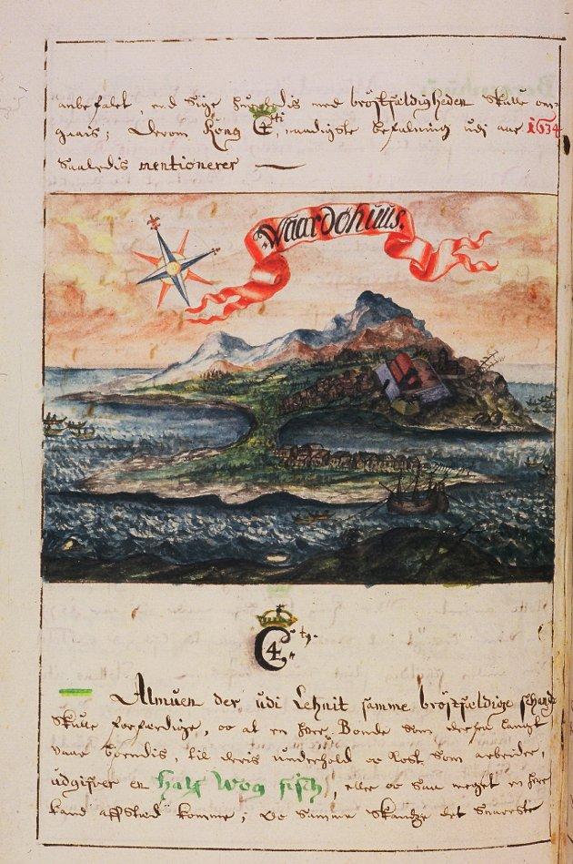 ANGREPET AV SJØRØVERE: Vardø ble flere ganger på 1600-tallet angrepet av sjørøvere. Illustrasjonen er et tresnitt fra om lag 1695, tegnet av amtmann Lilienskiold.