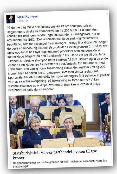 a5573fb2 RYKKET UT PÅ FACEBOOK: Her er meldingen Kjetil Rolnes la ut. Foto:  Faksimile fra Facebook