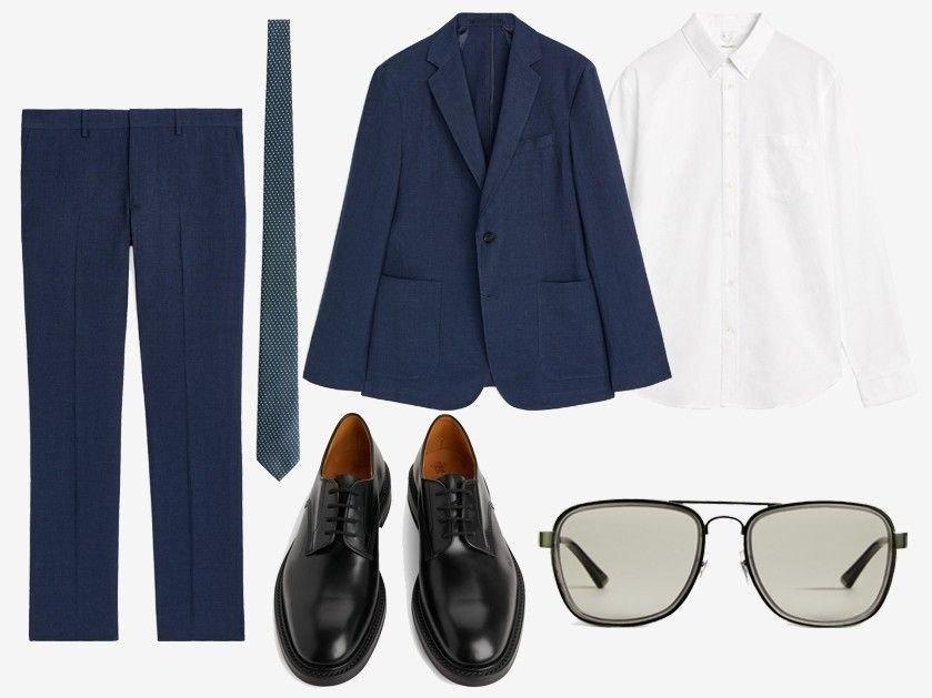 35552a12 Bukser i linen - Slips i silke - Hvit oxfordskjorte - Sko fra Tricket's -  Solbriller