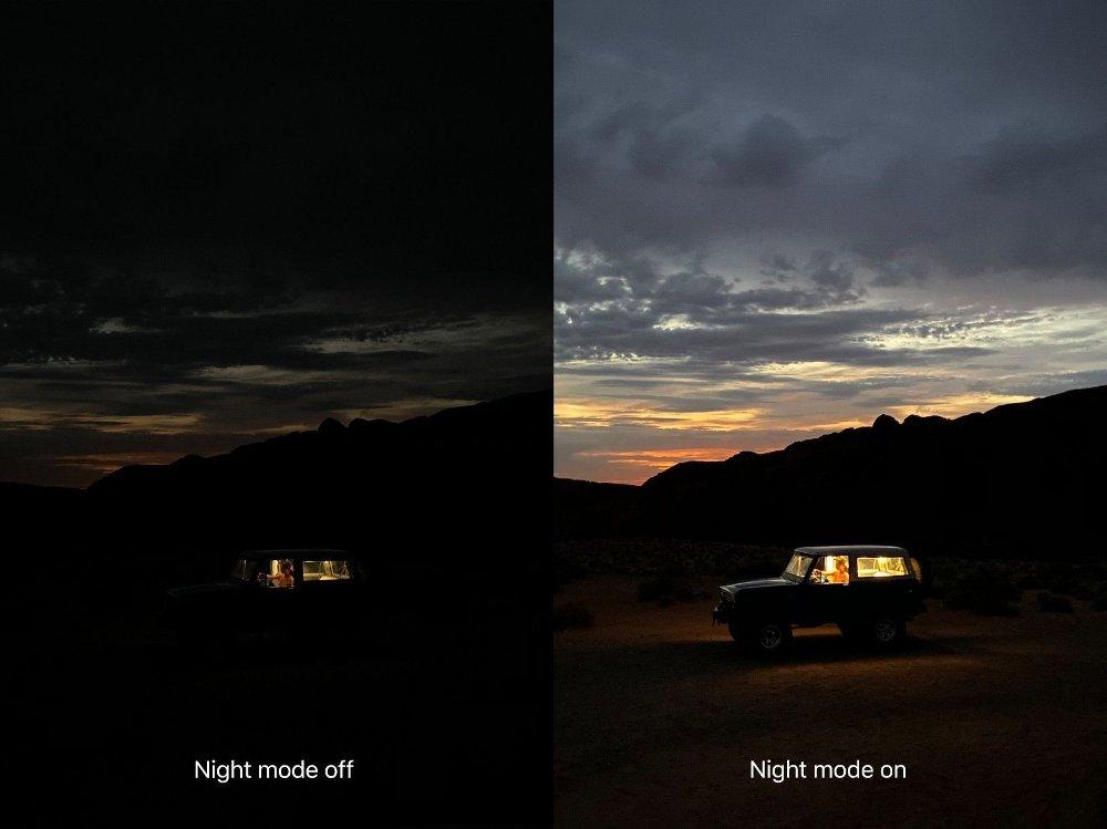 En egen nattmodus skal, ifølge Apple, ta bedre bilder i lite lys. Foto: Apple