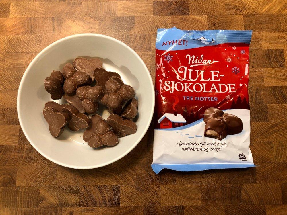 Klikk på bildet for å forstørre. Pose med julesjokolade Tre nøtter fra Nidar