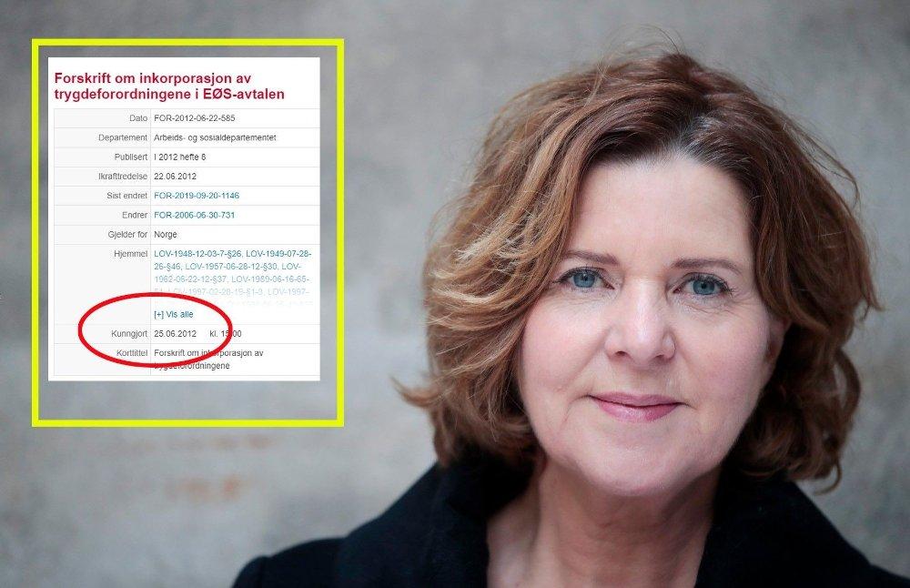 Klikk på bildet for å forstørre. Bildet viser lovteksten og daværende statsråd Hanne Bjurstrøm fra Arbeiderpartiet.