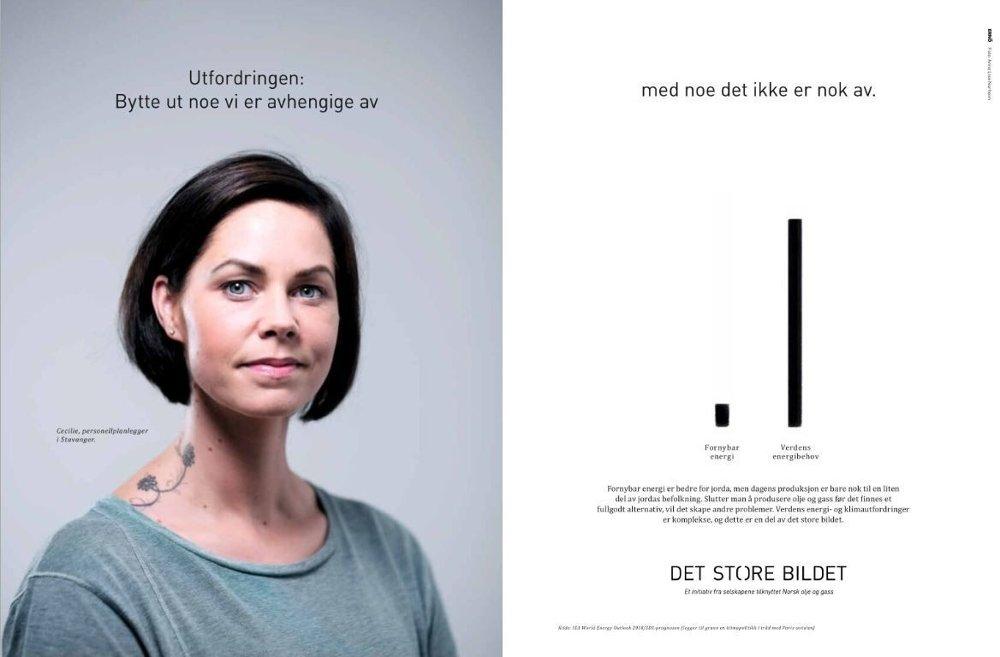 Klikk på bildet for å forstørre. Norsk olje og gass har fokusert på «Det store bildet» gjennom sin artikkelserie om verdens energibehov. Miljøbevegelsen mener bransjeorganisasjonen skaper et feilaktig bilde.