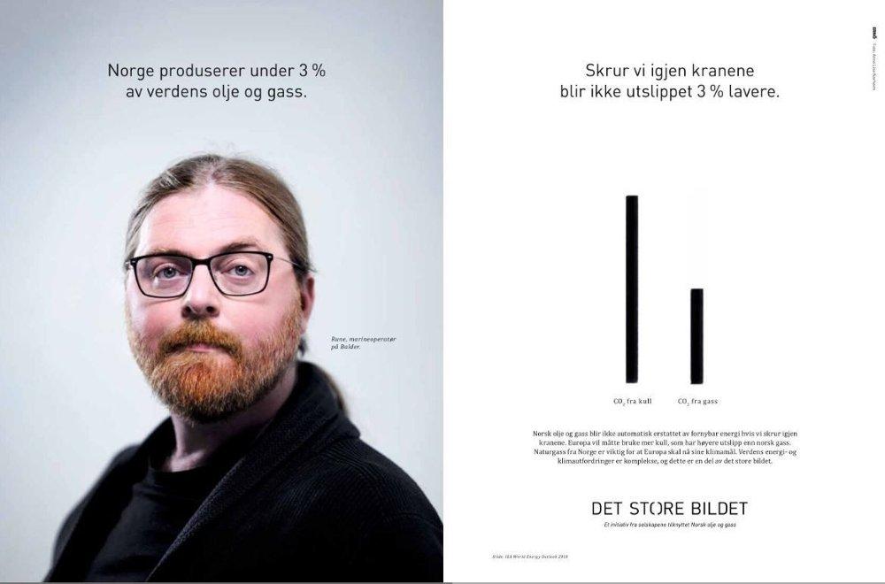 Klikk på bildet for å forstørre. Dette er én av flere annonser som Norsk olje og gass har spredt de siste ukene. At Europa ville måttet bruke mer kull dersom norsk gass forsvant, er langt ifra sikkert, ifølge NMBU-professor Knut Einar Rosendahl.