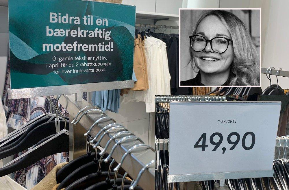 Klikk på bildet for å forstørre. BÆREKRAFTIG MOTE HM satser tungt på bærekraft. Det lar seg fint kombinere med billige klær, mener bærekraftsjef i HM Norge, Ina Vikøren.