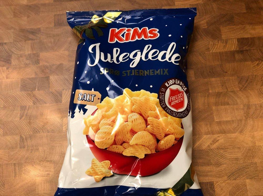 Klikk på bildet for å forstørre. Potetgullpose med Kims juleglede med saltsmak.