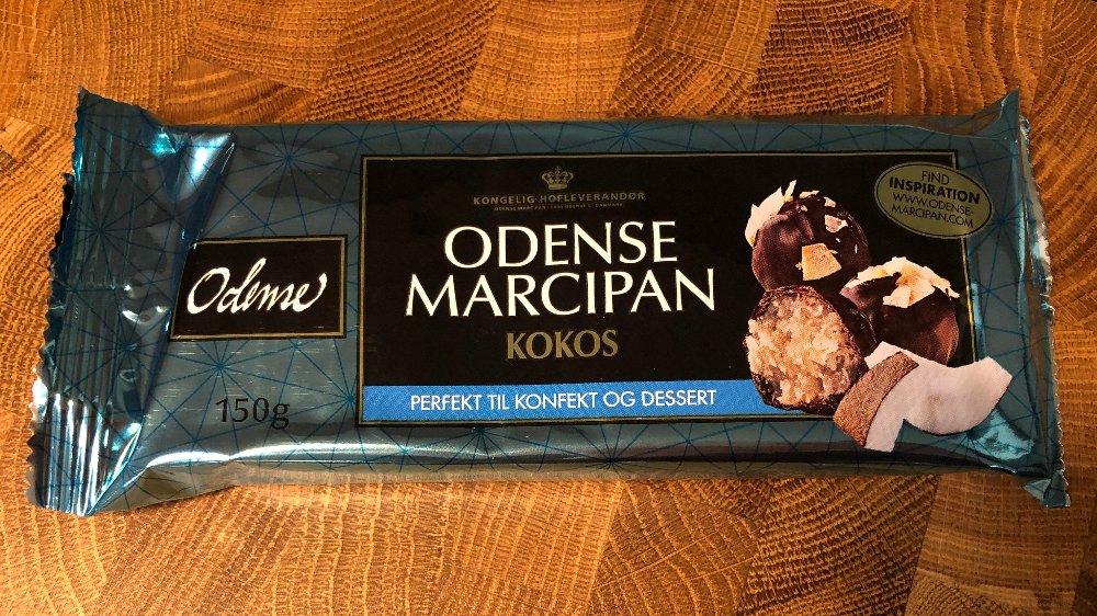 Klikk på bildet for å forstørre. Forpakning med Odense marsipan med kokos