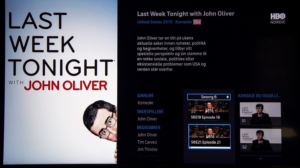 Klikk på bildet for å forstørre. De to siste tilgjengelige episodene av Last Week Tonight er 18 og 21, mens fullverdige HBO-abonnenter har tilgang til alt opp til 26.