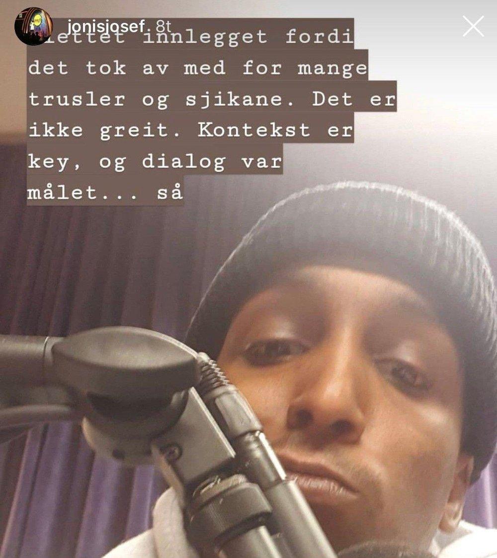 Klikk på bildet for å forstørre. TRUSLER: Jonis Josef skriver at det kom flere trusler både mot han og Tore Sagen i etterkant av Instagram-innlegget.