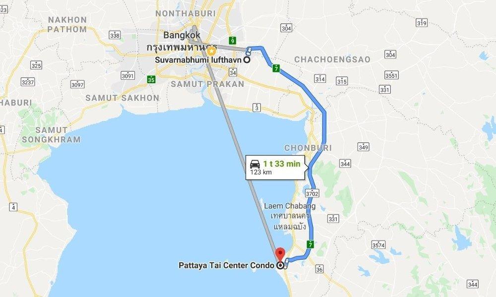 Klikk på bildet for å forstørre. Reiserute med bil fra Bangkok til Pattaya.