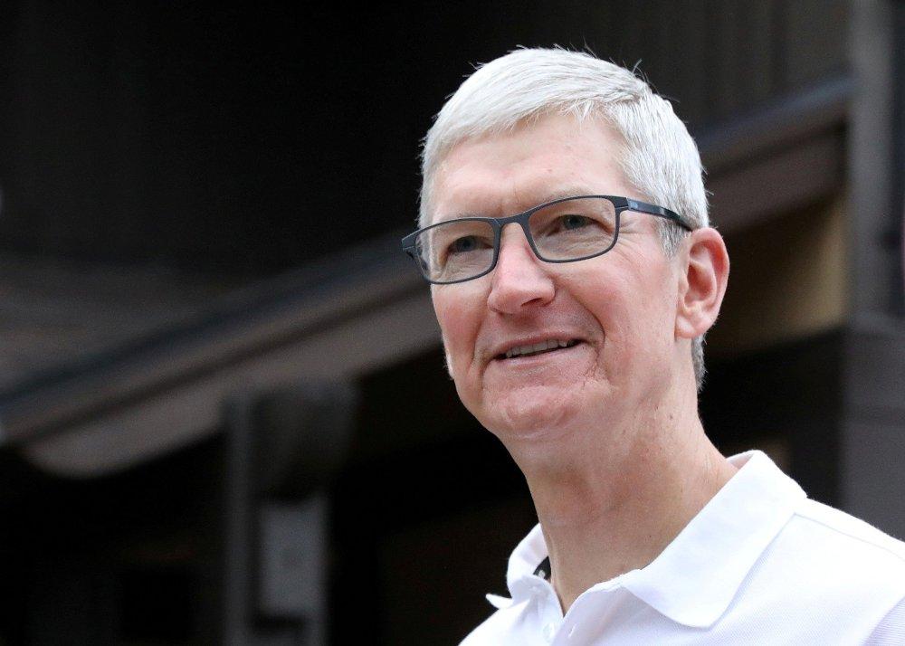 Klikk på bildet for å forstørre. Bildet viser fjeset til Tim Cook, Apples administrerende direktør.