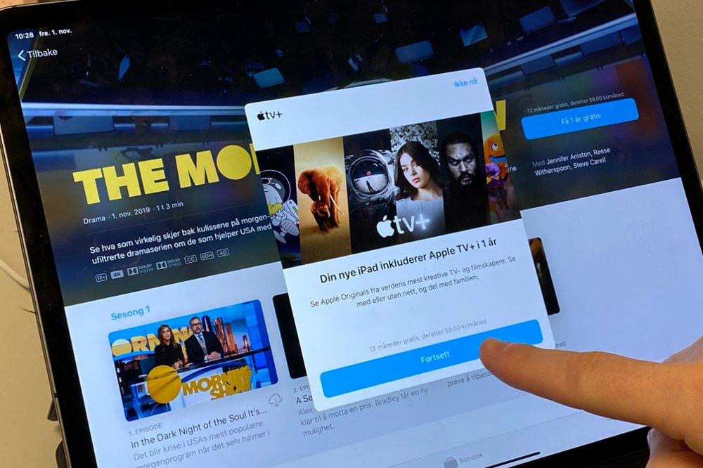 Klikk på bildet for å forstørre. iPad viser tilbud på Apple TV+.