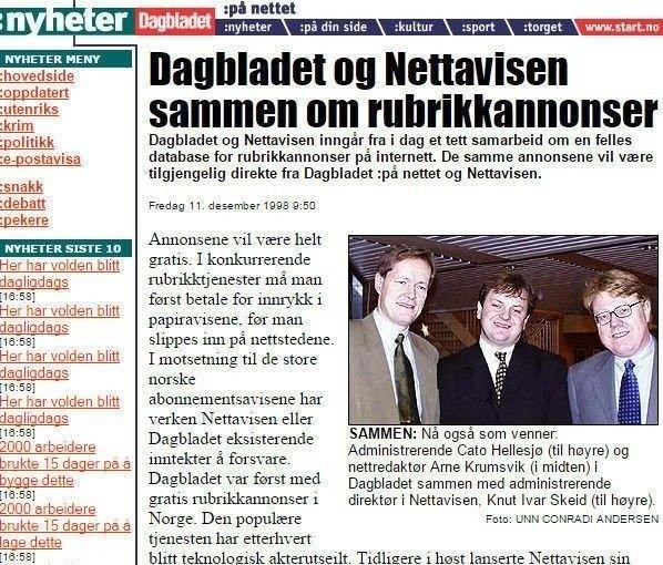Klikk på bildet for å forstørre. Faksimilie av Dagbladet da Nettavisen sammen med Dagbladet lanserte det første rubrikkmarkedet på nett i Norge.
