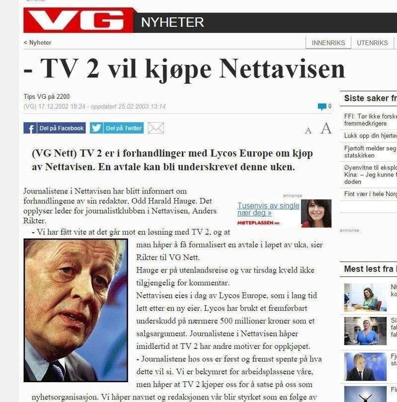 Klikk på bildet for å forstørre. Skjermdump fra TV 2