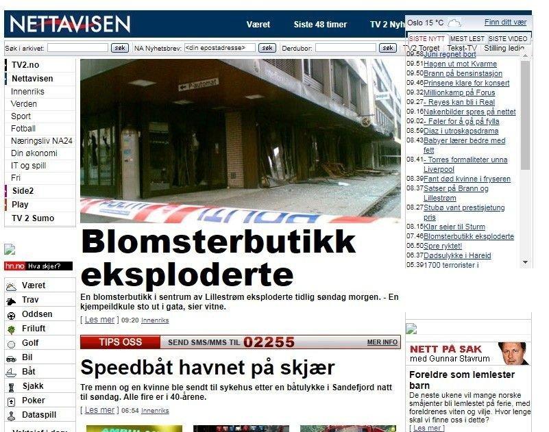Klikk på bildet for å forstørre. Skjermdump fra Nettavisen 2006