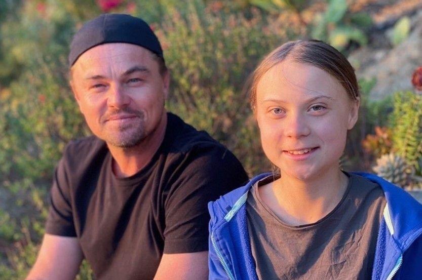 Klikk på bildet for å forstørre. På Instagram har Leonardo DiCaprio lagt ut to bilder av seg selv sammen med den 16 år gamle klimaaktivisten Greta Thunberg, som nå befinner seg i California.