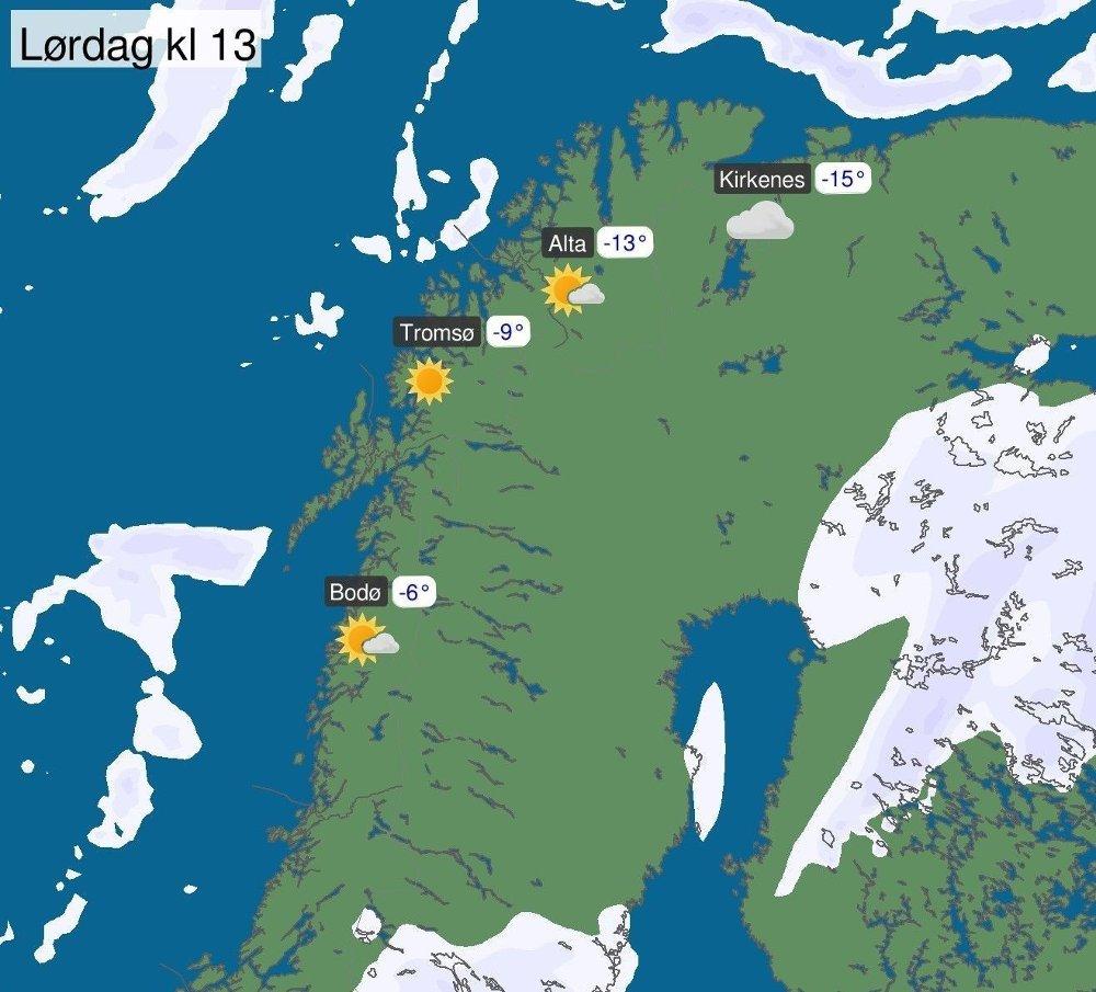 Klikk på bildet for å forstørre. LØRDAG: Solskinn og minusgrader, er hva meteorologene har i varselelt for Nord-Norge denne helga.