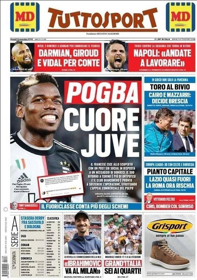 Klikk på bildet for å forstørre. KOBLER POGBA TIL JUVENTUS: Den italienske avisen Tuttosport.