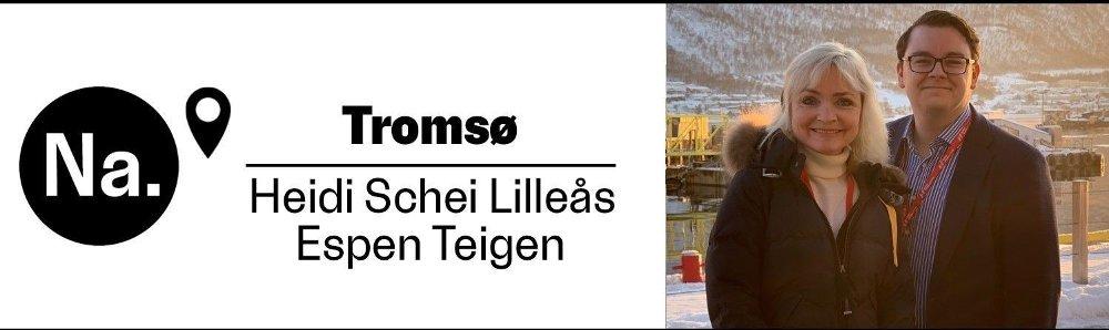 Klikk på bildet for å forstørre. Bylinevignett med Nettavisen-logo som viser at journalistene Heidi Schei Lilleås og Espen Teigen er på jobb i Tromsø