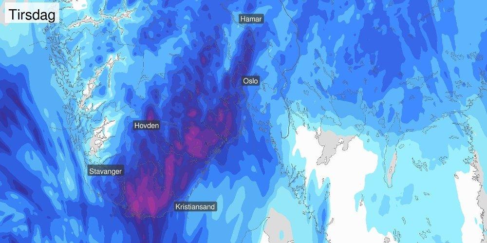 Klikk på bildet for å forstørre. REGNVÆR: Tirsdag vil det komme mye nedbør Østafjells, og temperaturen vil stige.