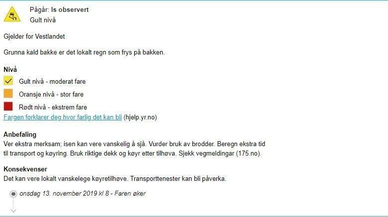 Klikk på bildet for å forstørre. IS: Meteorologisk institutt har lagt ut farevarsel for Vestlandet i morgentimene.