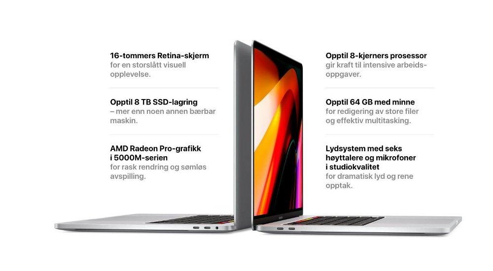 Klikk på bildet for å forstørre. Macbook Pro 16 tommer.
