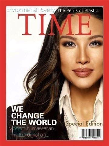 Klikk på bildet for å forstørre. Mina Chang pryder en falsk forside til magasinet Time.