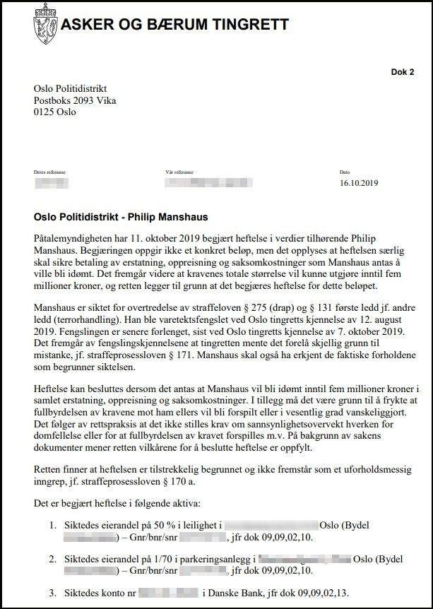 Klikk på bildet for å forstørre. Avgjørelse fra Asker og Bærum tingrett om å la politiet ta kontroll over formuen til Manshaus. Den draps- og terrorsitkede mannen bestrider avgjørelsen.