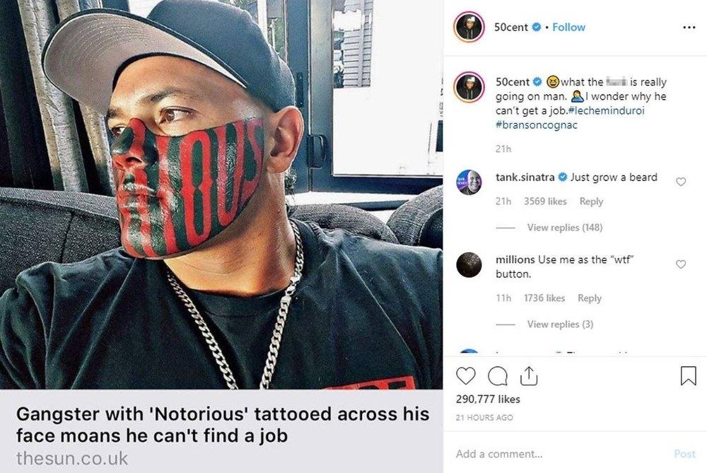 Klikk på bildet for å forstørre. 50 Cent var ikke nådig i sin kommentar om Puk Kierka.
