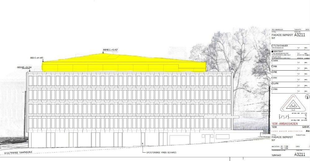 Klikk på bildet for å forstørre. Det tidligere ambassadebygget er på tegningene fra Lund Hagem Arkitekter vist med et nytt takbygg omkranset av en takterrasse. På denne tegningen har vi farget takbygget gult.