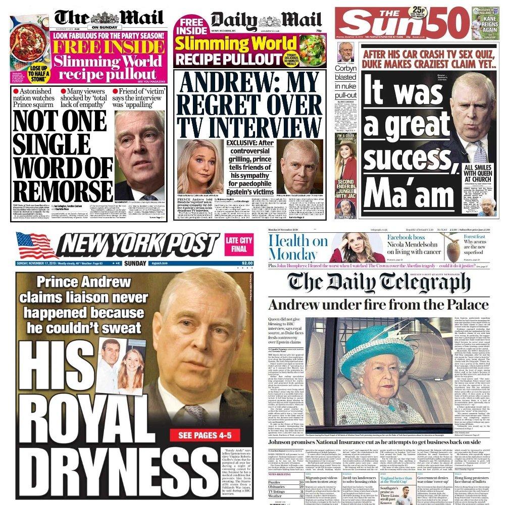 Klikk på bildet for å forstørre. Prins Andrew får gjennomgå i britiske og amerikanske aviser etter lørdagens BBC-intervju.