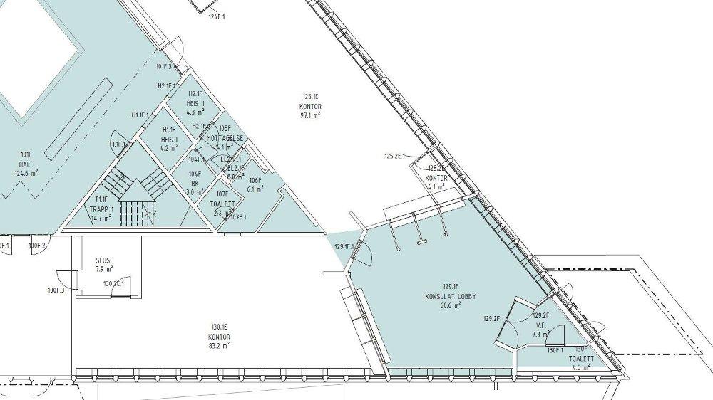 Klikk på bildet for å forstørre. INNGANGSPARTI: Tegningen viser nytt inngangsparti i gateplan i det østlige hjørnet av trekantbygget.