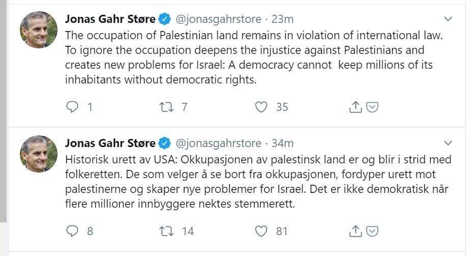 Klikk på bildet for å forstørre. KRITISERER USA: Ap-leder Jonas Gahr Støre er tirsdag ute på Twitter med et angrep på USAs kursendring når det gjelder synet på israelske bosetninger på okkuperte Vestbredden.