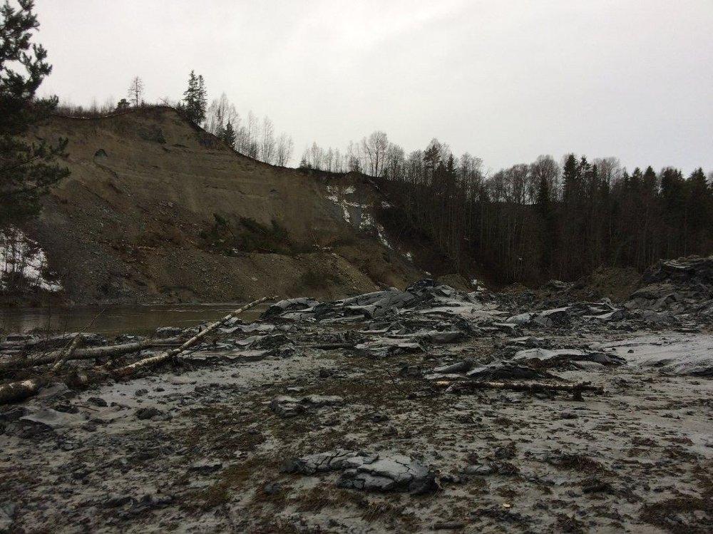 Klikk på bildet for å forstørre. Bilde av jordskred i Hønefoss.