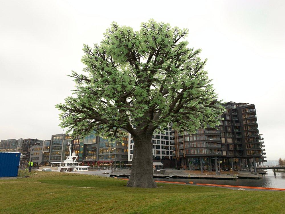 Klikk på bildet for å forstørre. Selvlysende tre Oslo gave fra Stein Erik Hagen på Filipstad