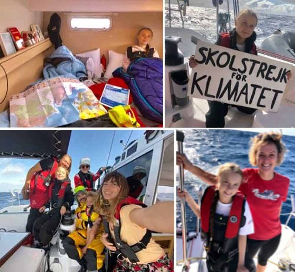 Klikk på bildet for å forstørre. Greta Thunberg har lagt ut flere bilder av seg selv på turen over Atlanteren.