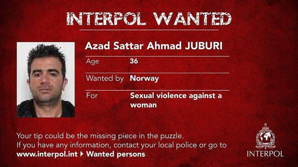 Klikk på bildet for å forstørre. Azad Sattar Ahmad Juburi er dømt til fire års fengsel for gjentatte voldtekt av en kvinne i Stavanger i 2010. Han er på rømmen, og er nå etterlyst internasjonalt i Interpols «most wanted-kampanje.