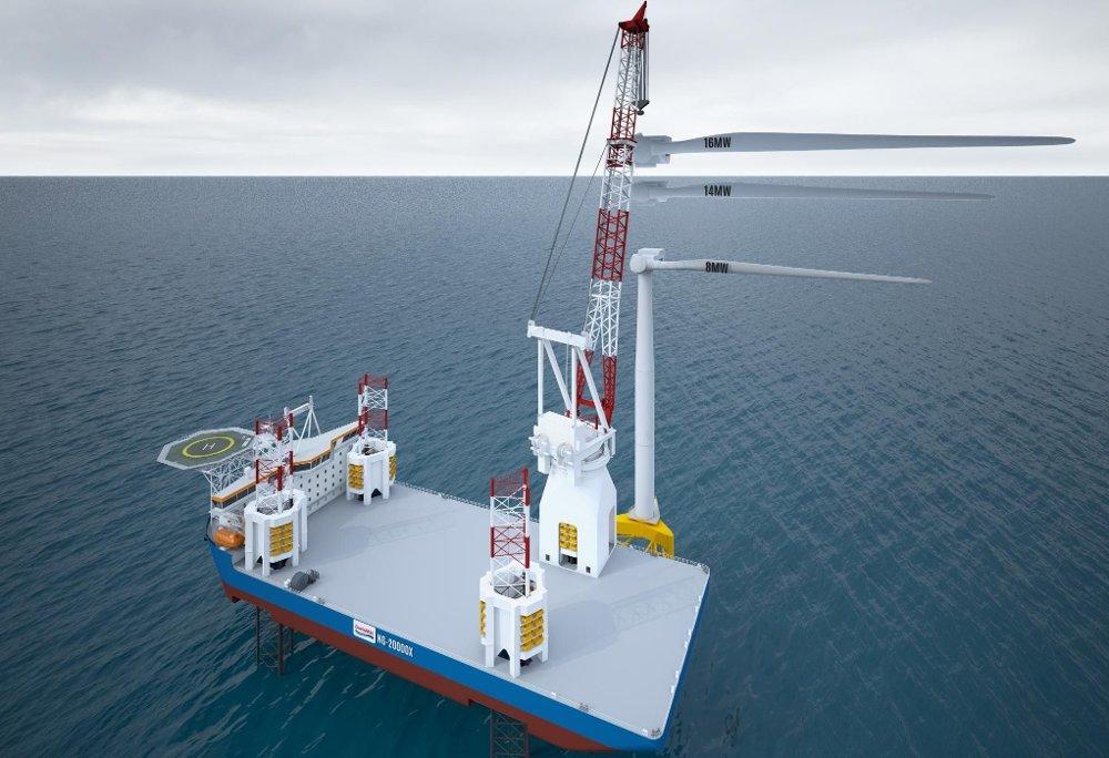 Klikk på bildet for å forstørre. For å montere vindmøllene ser en for seg å bruke oppjekkbare installasjonsplattformer.