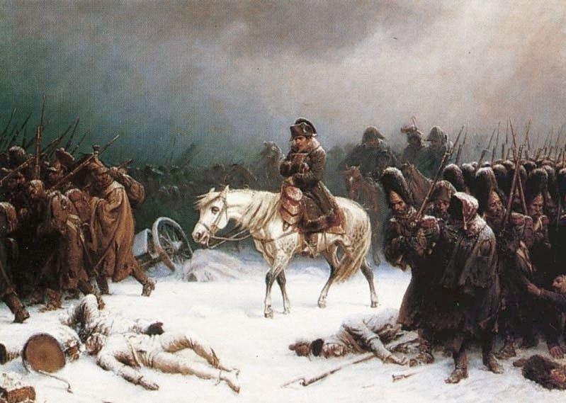 Klikk på bildet for å forstørre. Napoleons tilbaketog fra Moskva. Adolph Northen / Wikipedia Commons
