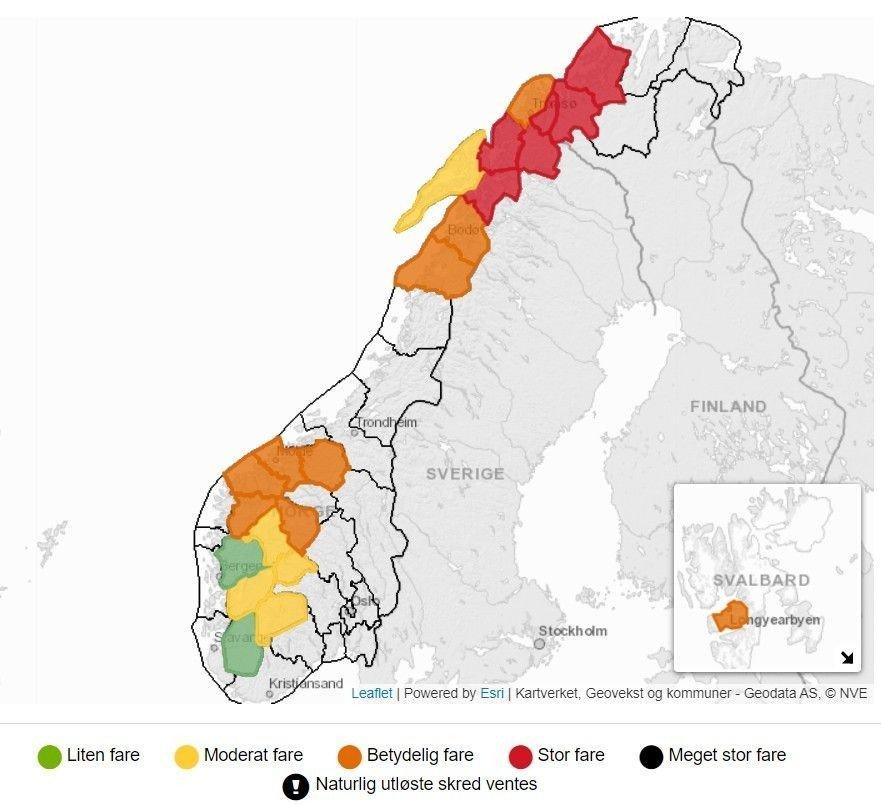 Klikk på bildet for å forstørre. Kartet på Varsom.no viser rødt farevarsel for snøskredfare i flere områder i Finnmark, Troms og Nordland.