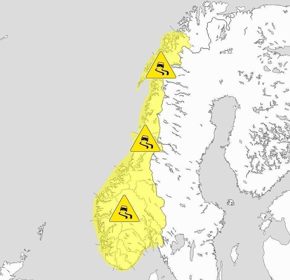 Klikk på bildet for å forstørre. GLATTE VEIER: Meteorologene har sendt ut farevarsel for underkjølt regn og regn som fryser på bakken i hele landet. Det starter i sør tirsdag kveld og når Nord-Norge tirsdag formiddag.