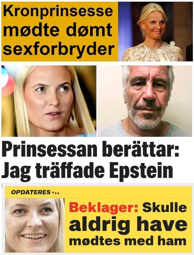 Klikk på bildet for å forstørre. Koblingen mellom kronprinsesse Mette-Marit og Jeffrey Epsten slås stort opp i utlandet. Saken er toppsak både hos Ekstra Bladet og BT i Danmark. Også Expressen kjører saken høyt.