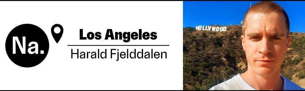 Klikk på bildet for å forstørre. Byline av harald fjelddalen foran Hollywood-skiltet.
