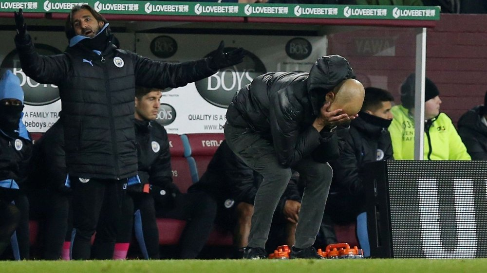 Klikk på bildet for å forstørre. Soccer Football - Premier League - Burnley v Manchester City - Turf Moor, Burnley, Britain - December 3, 2019 Manchester City manager Pep Guardiola reacts REUTERS/Andrew Yates EDITORIAL USE ONLY. No use with unauthorized audio, video, data, fixture lists, club/league logos or