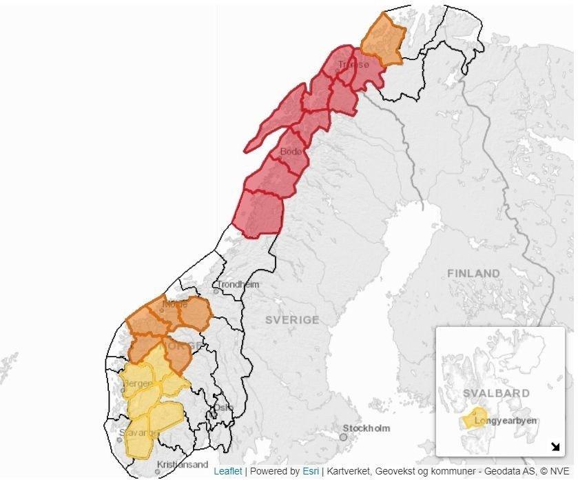 Klikk på bildet for å forstørre. SNØSKREDFARE: Regn og mildvær har svekket snødekket og har ført til stor snøskredfare flere steder i Nord-Norge.