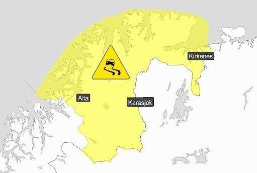 Klikk på bildet for å forstørre. FAREVARSEL: Meteorologene går onsdag ut med gult farevarsel for underkjølt regn i Finnmark.