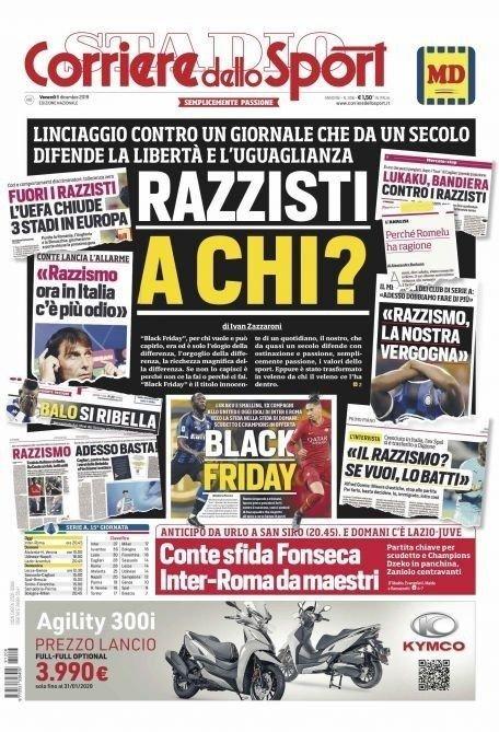 Klikk på bildet for å forstørre. SLO TILBAKE: Her er forsiden i fredagens Corriere dello Sport.